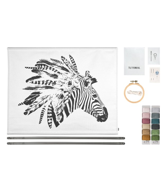 Numero 74 Crazy animal borduur kit - zebra