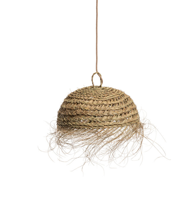 Hanging lamp seagrass 'Sywar' with fringes