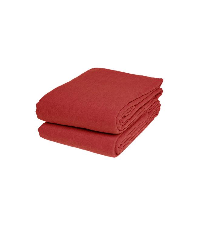 Linge Particulier Flat sheet linen - carmine red