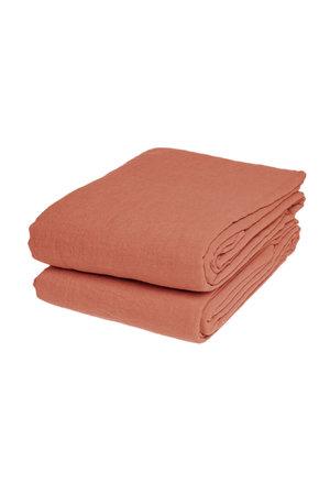 Linge Particulier Flat sheet linen - dark old orange