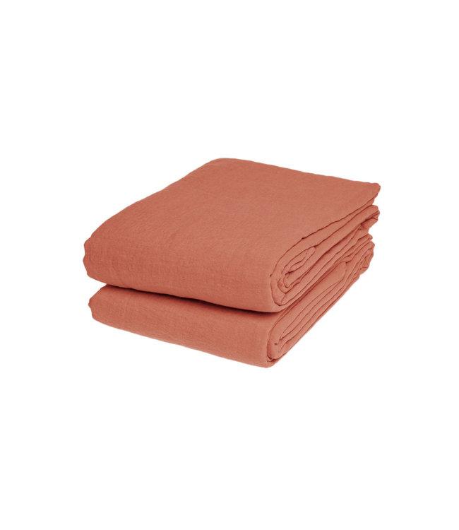 Flat sheet linen - dark old orange
