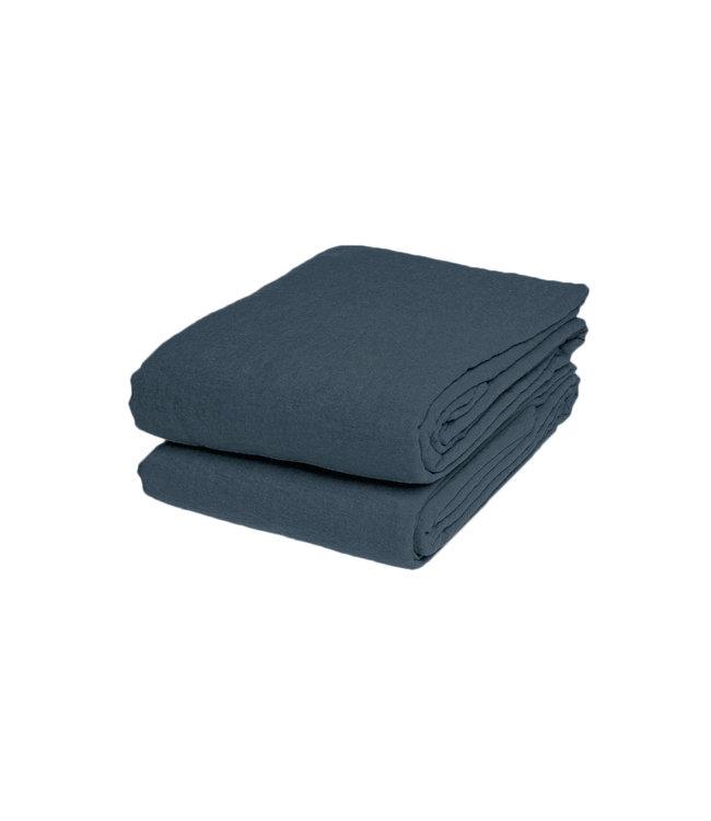 Linge Particulier Flat sheet linen - duck blue