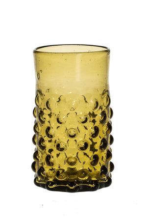 Mondgeblazen glas met bubbels - amber