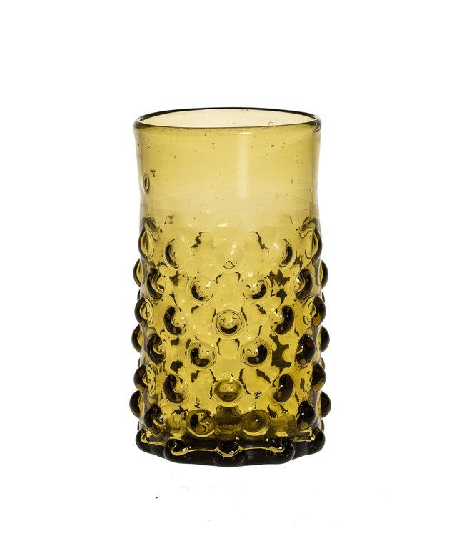 Mouth blown bubble glass - amber