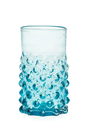Mondgeblazen glas met bubbels - turquoise