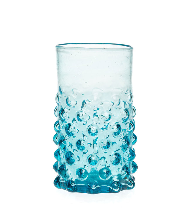 Mouth blown bubble glass - turquoise