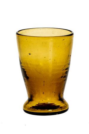 Mondgeblazen glas met lage voet - amber