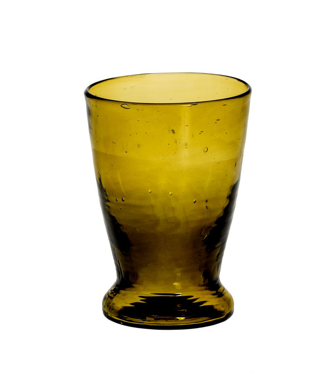 Mondgeblazen glas met lage voet - olijfgroen