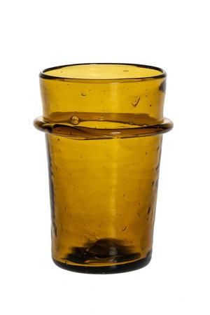 Mondgeblazen glas met ring - amber