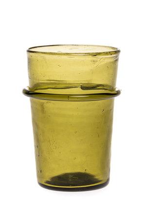 Mondgeblazen glas met ring - olijfgroen