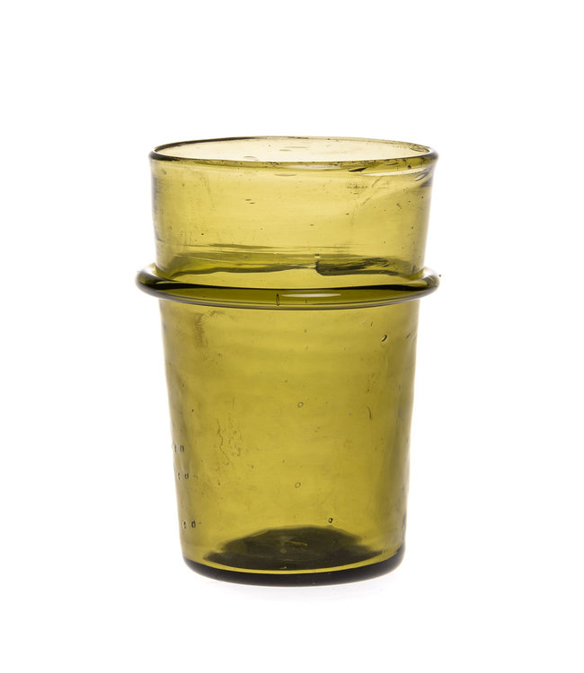 Mouth blown ringed glass - olive green