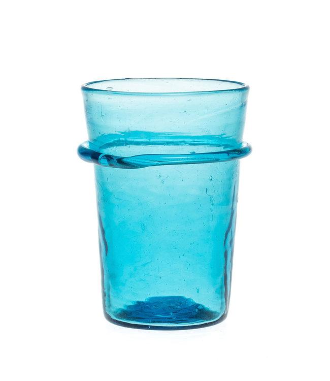 Mondgeblazen glas met ring - turquoise