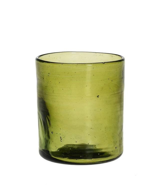 Mondgeblazen recht glas - olijfgroen