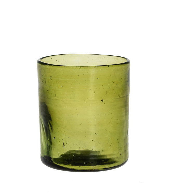 Mouth blown glass straight - olive green
