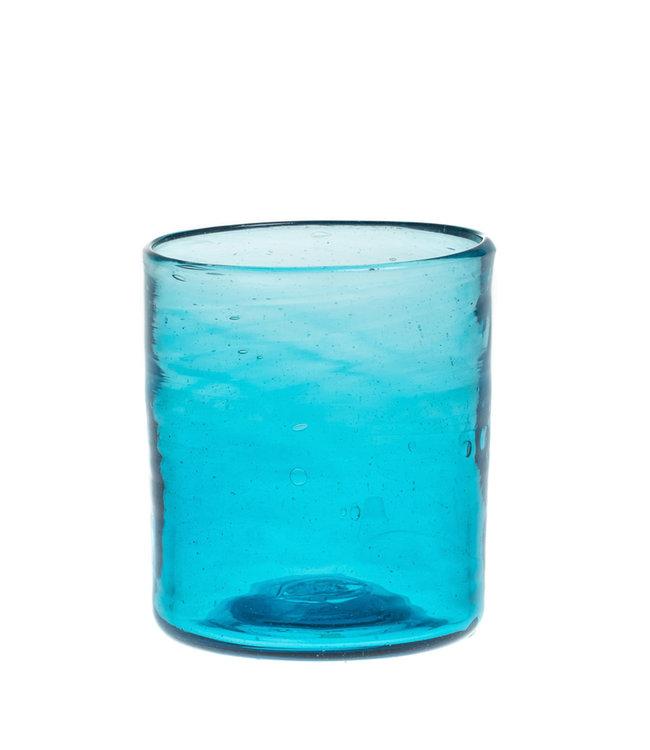 Mondgeblazen recht glas - turquoise
