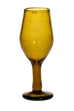 Mouth blown wine glass - amber