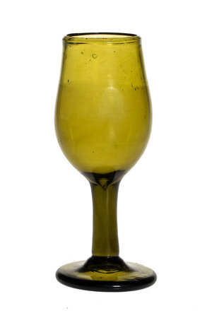 Mouth blown wine glass - olive green
