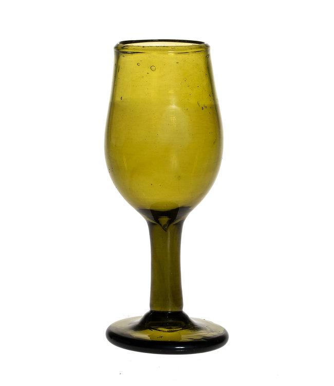 Mondgeblazen wijnglas - olijfgroen