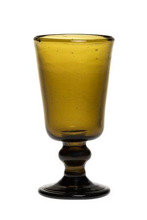 Mondgeblazen glas met hoge voet - olijfgroen
