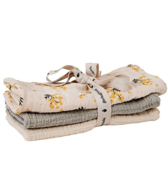 garbo&friends Mimosa muslin burp cloth - set van 3