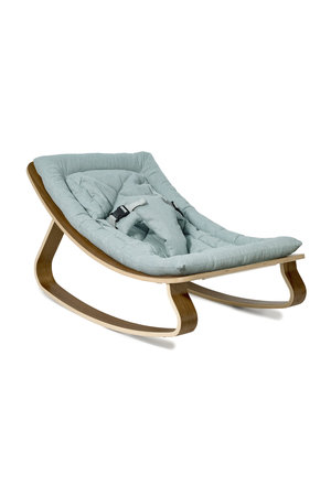Charlie Crane Levo walnut baby bouncer -  Aruba blue