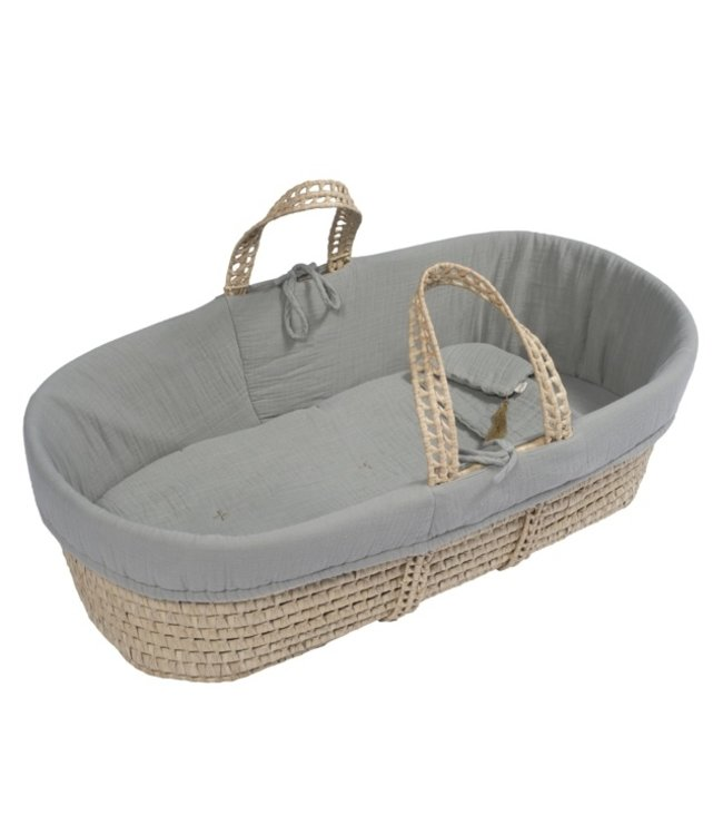 Bed linen for moses basket - silver grey