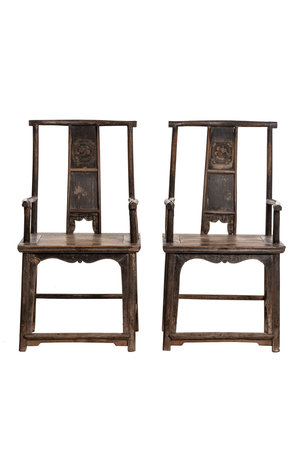 Pair of old Chinese temple chairs