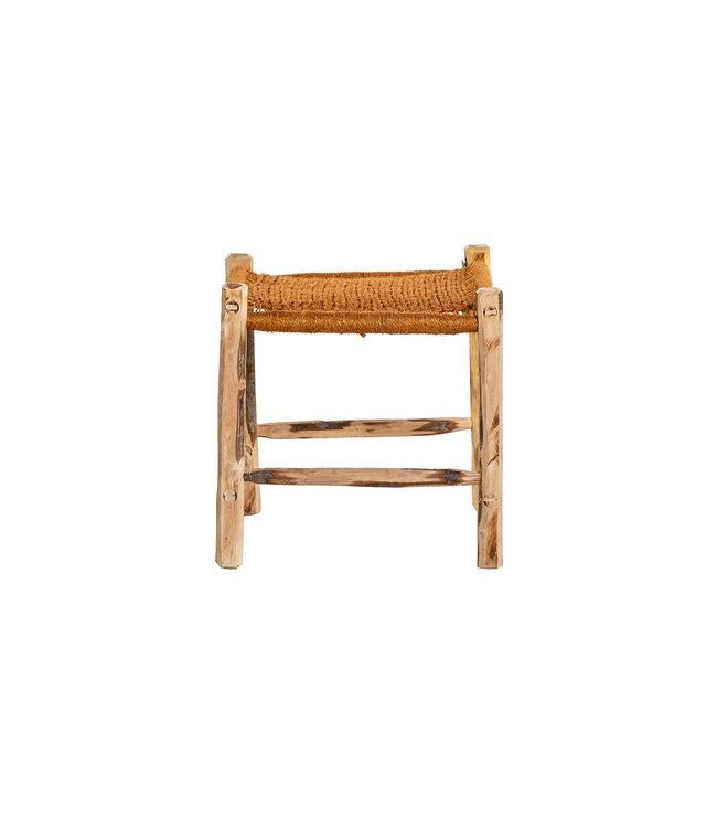Stool olive wood - terracotta
