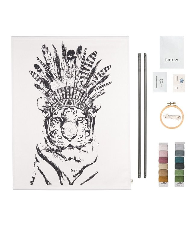 Crazy animal embroidery kit - tiger