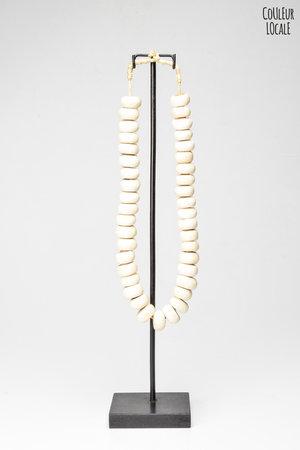 Ethnic beads bone white - Kenya