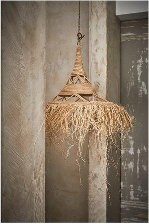 Couleur Locale Raffia hanglamp met franjes -  Marokko
