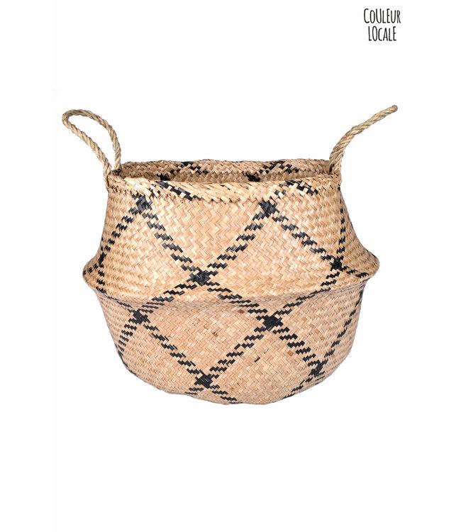 Rice basket natural/black square
