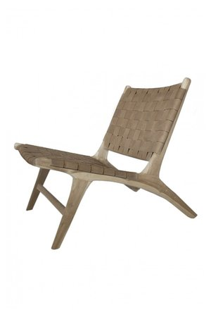 Boro  lounge  chair - walnut leather & unfinished teak