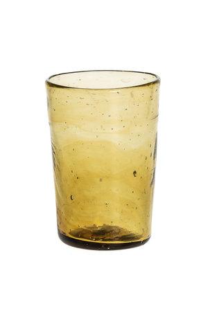 Mondgeblazen klein conisch glas – amber