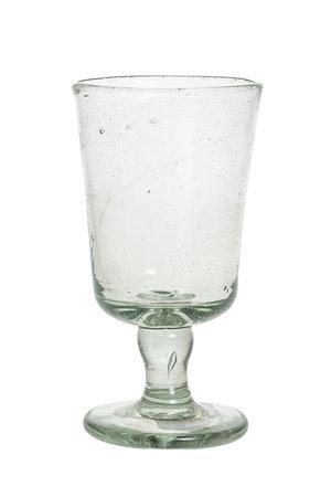 Mondgeblazen glas met hoge voet - transparant