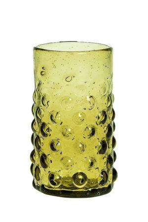 Mondgeblazen glas met bubbels – olijfgroen