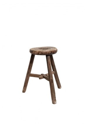 Elm wood antique stool round #4