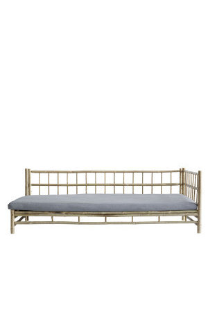Tine K Home Bamboo lounge bed with grey mattress, left