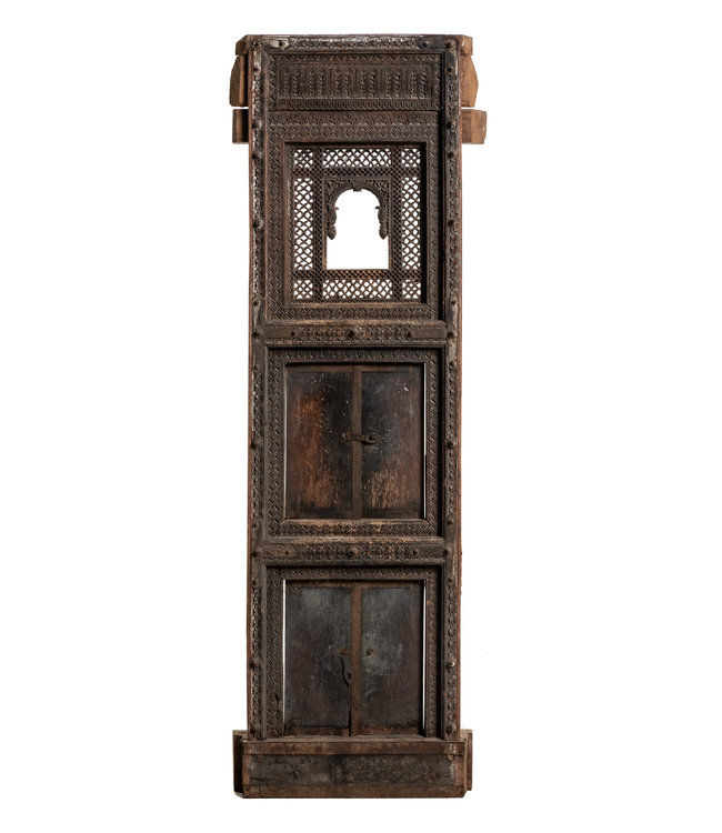 Old carved Haveli panel with small doors