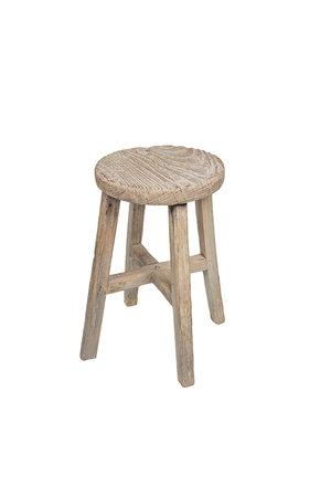 Antiek houten kruk rond