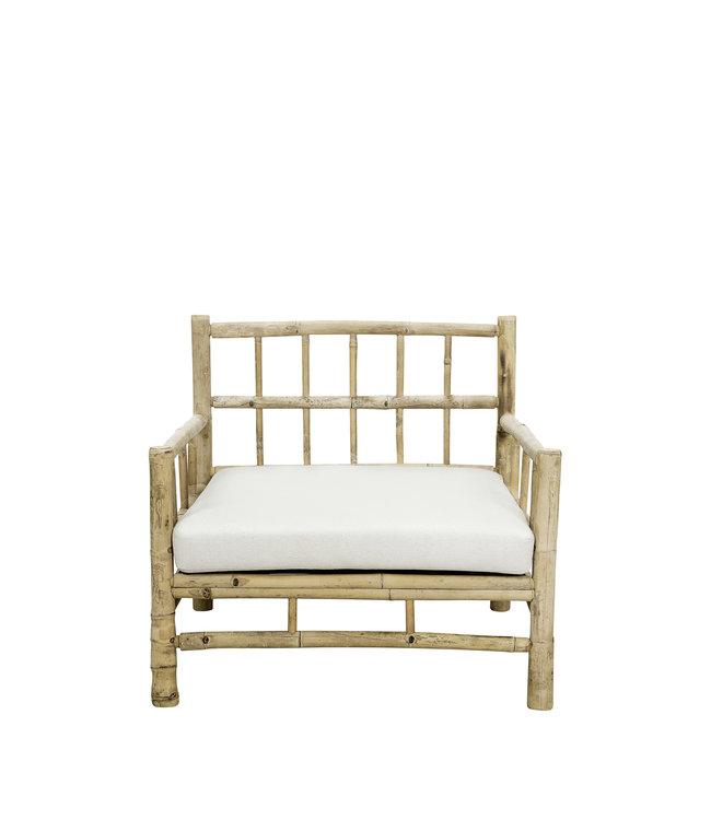 Bamboe lounge stoel met witte matras