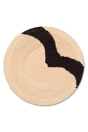 Striped black & natural raffia plate  II