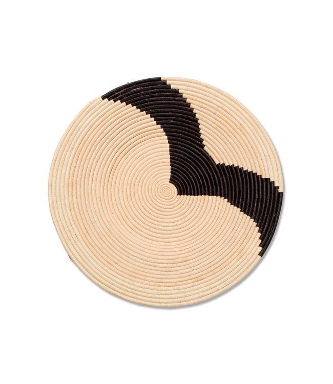 Striped black & natural raffia mand II