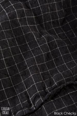 Linge Particulier Duvet cover linen - black checks