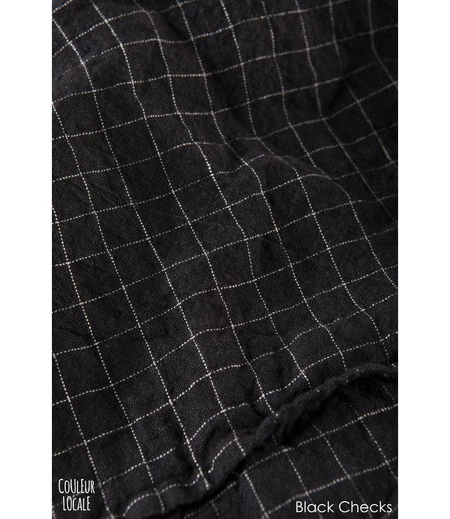 Linge Particulier Dekbedovertrek linnen - black checks