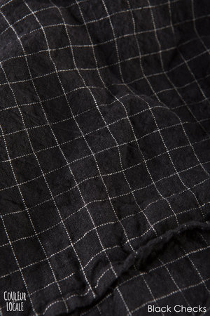 Linge Particulier Pillow case linen - black checks