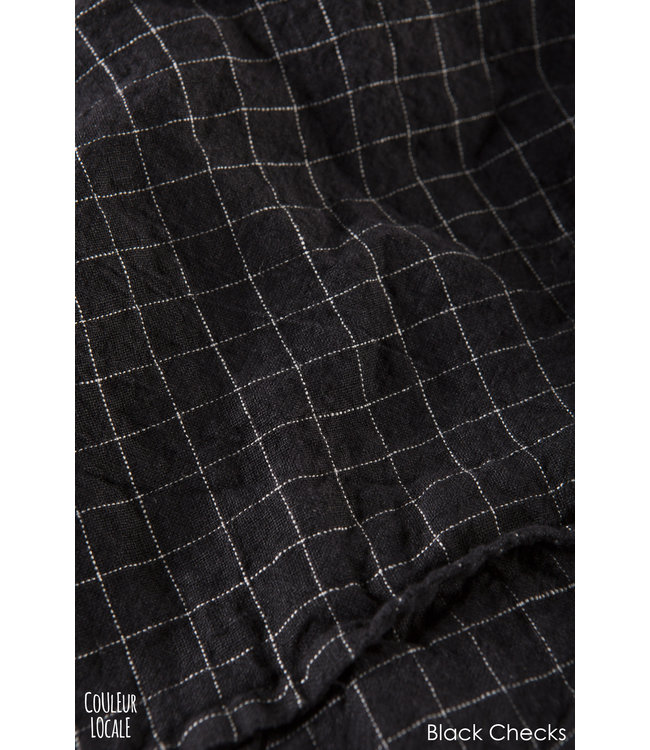 Linge Particulier Pillow case linen - black checks