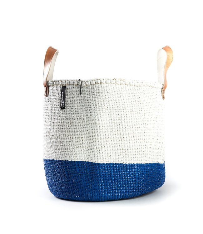 Kiondo basket - 50/50 color blue and white with leather straps