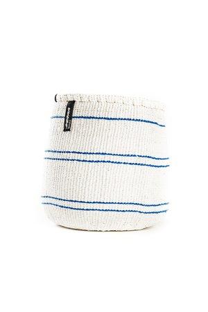 Kiondo basket - 5 thin stripes blue and white