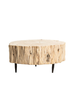 Tree trunk coffee table with metal legs